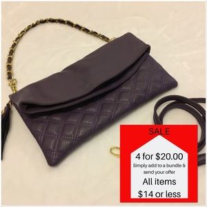 5b2574a3001 Handbags - Quilted Vegan Leather Fold Over Evening Bag